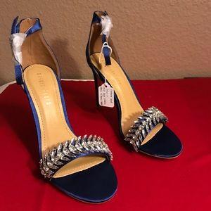 "*Sold* Fashion Nova 4 1/2"" blue satin sandal heels"